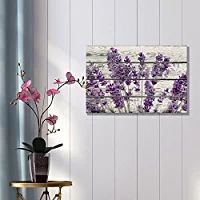 """Wall26 Rustic Home Decor Canvas Wall Art - Retro Style Purple Lavender Flowers on Vintage Wood Background Modern Living Room/Bedroom Decoration Stretched and Ready to Hang - 16"""" x 24"""""""
