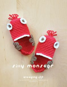 Silly Monster Baby Booties Crochet PATTERN