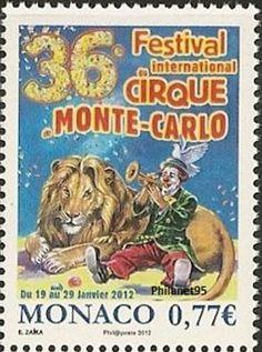 Circus theme on postage stamps