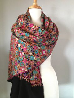e93d58b273 Merino hand-embroidered Kashmiri Papier Mache design Shawl Kashmiri Suits, Kashmiri  Shawls, Embroidery