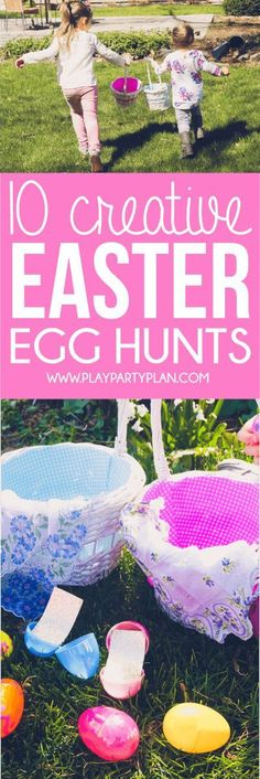 10 fun Easter egg hunt ideas that work for all ages - for older kids, for adults, for teens, for toddlers, or even for babies! Children will love the unique spin on an Easter favorite! I'm definitely trying these for our outdoor church Easter Egg hunt and