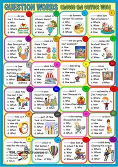 In this new activity , students read the questions and sometimes the answer is given , then they have to choose the correct question words, what where when how , how old.. - ESL worksheets