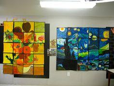 Van Gogh group art project or art squares cuts Group Art Projects, Collaborative Art Projects, School Art Projects, Arte Van Gogh, Van Gogh Art, Middle School Art, Art School, High School, 7th Grade Art