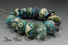 SRA HANDMADE LAMPWORK Glass Bead Set of 12 by Donna Millard