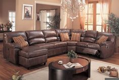 Leather Reclining Sectional Sofa with Chaise #LeatherSectionalSofas