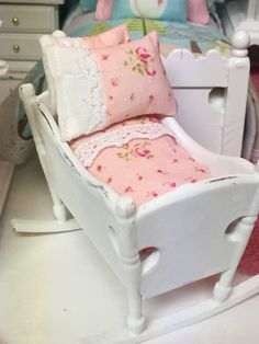 Miniature Shabby Style Cradle with Pink by RibbonwoodCottage