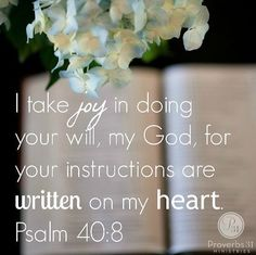 I take joy in doing Your will, my God, for Your instructions are written on my heart. Psalm 40:8