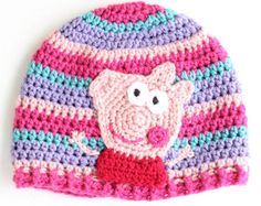 Peppa Pig sombrero, sombrero del invierno, regalo de la Navidad, sombrero de la muchacha, sombrero Stocking Stuffer, Peppa Pig inspirado del cerdo