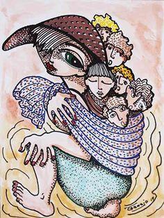 DIBUJO H-8 -  #Acuarela, #Arte, #BlancNoise, #Familia, #Mujer, #Niño, #Sombrero, #Teresa_Cornejo, #Tinta