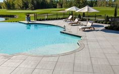 Travertina slabs from Techo-Bloc Patio Slabs, Concrete Pavers, Outdoor Steps, Outdoor Fire, Garden Pool, Terrace Garden, Concrete Materials, Outdoor Water Features, Pool Coping