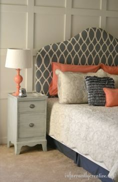 Make your own painted padded headboard, love ALL of this! by gracie