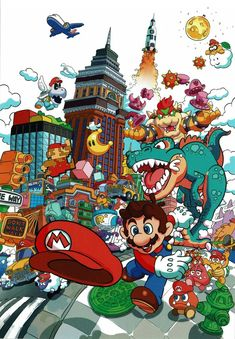 LOOOOOK at this awesome New Donk City art from the art book! It's so cool to see modern Mario stuff drawn like it's from the original Super Mario instruction manual. Super Mario World, Super Mario Bros, Mundo Super Mario, Super Mario Kunst, Super Mario Games, Super Mario Brothers, Super Smash Bros, Super Nintendo, Nintendo Games