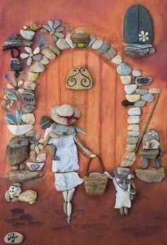 Maria Lopes and Arts: Maria Lopes and Arts presenting the work in stones Timea Papp Pebble Pictures, Stone Pictures, Stone Crafts, Rock Crafts, Pebble Painting, Stone Painting, Pebble Art Family, Rock Sculpture, Sea Glass Art