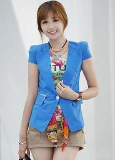 Korean Style Cap Sleeve Pocket Design Chiffon Blue Blazer