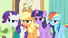 Rarity, Applejack, Twilight and Rainbow looking angry at Pinkie Pie