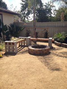 pinterest backyard for kids ideas | Fire pit bench from Pinterest to real life | outdoor ideas