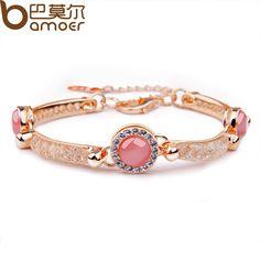 Bmaoer Luxury 18K Rose Gold Plated Bracelet with Red Opal For Women Wedding AAA Zircon Crystal Jewelry JSB027 $31.69