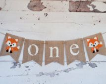One Banner, A Fox One Banner, Fox Highchair Banner, Woodland one Banner, 1st Birthday, Woodland Banner, B291