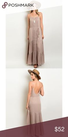 """Mocha Open Back Maxi Dress My new favorite dress // mocha colored adjustable strapped maxi dress // 100% rayon // (L)55"""" (B)36"""" (W)34"""" // available in sizes small (0-4) medium (6-8) and large (10-12) Dresses Maxi"""