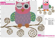 cross-stitch pattern of beautiful colored owl on branch