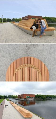 Custom made benches by Grijsen, Amsterdam, Netherlands. Outdoor space design by Guido Hermans. Park Landscape, Urban Landscape, Landscape Architecture, Landscape Design, Outdoor Furniture Design, Urban Furniture, Street Furniture, Outdoor Learning Spaces, Public Space Design
