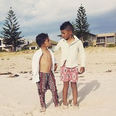 """""""I'm always catching these two in deep conversation  Reminiscing on our mini vacay to Adelaide before #shitgotreal (aka school started) #takemeback #sunkissedskin #beachdays #featherdrum #bohemianstyle #niconico #mrwolfkids #boysfashion"""" Photo taken by @stylingthetribe on Instagram, pinned via the InstaPin iOS App! http://www.instapinapp.com (02/04/2015)"""