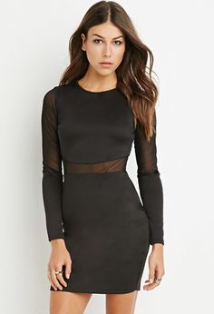 Mesh-Paneled Bodycon Dress | Forever 21 - 2000172038