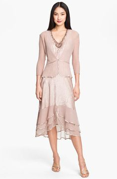 Komarov Pleated Satin & Chiffon Dress with Jacket available at #Nordstrom