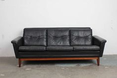 Vintage Black Leather Mid Century Modern Sofa with Rosewood Base image 2
