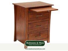 The Grant Park 3 Drawer Nightstand by A-America embodies Transitional design style — a gorgeous and easy-to-work-with melding of Traditional and Contemporary design. Calm and minimalistic in style yet sturdily crafted in solid alder wood, this nightstand has a refined and uncomplicated silhouette. Features a pull-out beverage tray above the top drawer.  We'll ship to you! Call us in Seattle at Bedrooms & More: 1-888-297-8844