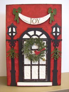 Christmas Door card ~ (Cricut Christmas cartridges).