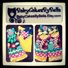 NeW OUTFiT PiNK NaVy YeLlow BRiGht FuN SPRiNg by BabyCakesByBella