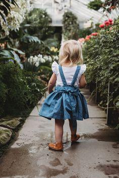 "SALE Heidi Pinafore in ""Pacific"" Organic Linen/Cotton - Ready to Ship Cotton Linen, Elastic Waist, Nest, What To Wear, Organic Cotton, Flower Girl Dresses, Wedding Dresses, Children, Spring"