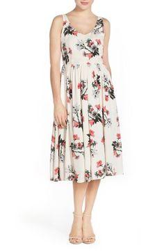 BB Dakota 'Emeli' Floral Print Midi Dress available at #Nordstrom