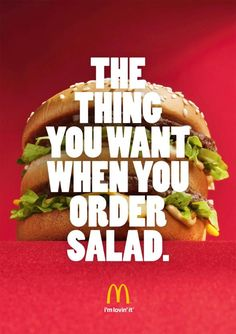Clever ad for all those who've been on a diet and standing at the salad line