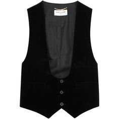 Saint Laurent Velvet and cotton-twill vest ($1,120) ❤ liked on Polyvore featuring outerwear, vests, black, cropped vests, velvet vest, yves saint laurent, vest waistcoat and velvet waistcoat