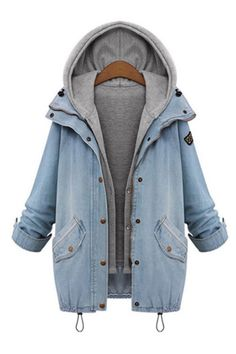 Hooded Drawstring Boyfriend Trends Jean Pockets Coat - 2 Pieces