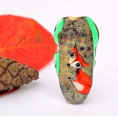 Fox lampwork focal bead, woodland pendant by Laila Strazdina. Jewelry supplies, etsy. #JewelrySupplies