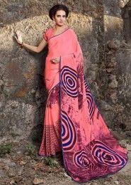 Casual Wear  Crepe Peach Printed Saree