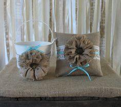 Flower Girl Basket Ring Bearer Pillow Set Shabby Chic Wedding Rustic Wedding Blue
