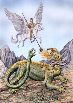 All right, so that is not an actual marshmallow! This shows the Greek hero Bellerophon battling the monstrous Chimera. Bellerophon came from. Mythology Books, Greek And Roman Mythology, Chimera, Mythical Creatures, Deities, Folklore, Marshmallow, Supernatural, Beast