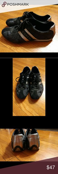 Coach sneakers Authentic black and silver Coach shoes. Great condition! Only worn a handful of times. Coach Shoes Sneakers