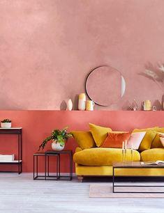 Blush pink walls with mustard yellow velvet sofa wall Block Stripe Ceramic Jug Mustard Yellow Bedrooms, Mustard Yellow Walls, Yellow Couch, Mustard Sofa, Mustard Bedroom, Indian Living Rooms, Living Room Sofa, Living Room Decor, Yellow Walls Living Room