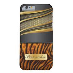 #Elegant Black Gold #Metal and #Tiger Animal #Print #iPhone6 #Case #zazzlebesties #zazzle