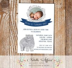 Woodland Rustic Bear Birthday Party invitation with photo - choose your accent colors by NotableAffairs