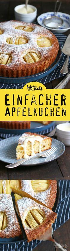 Ein einfacher und leckerer Apfelkuchen mit Vanillesoße | Bake to the roots