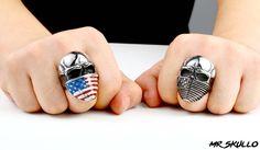 American flag biker ring on sale! Skull ring. We ship worldwide. Free shipping.