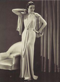 Robe de soirée par Lucien Lelong, années 1930