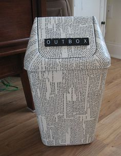 decoupaged waste basket after  way cute!