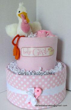Pink Baby Shower Diaper Cake Stork Diaper by MsCarlasBabyCakes, $40.00